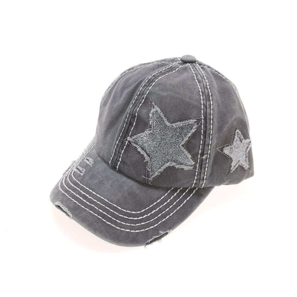 Distressed High Pony Cap with Glitter Star BT14