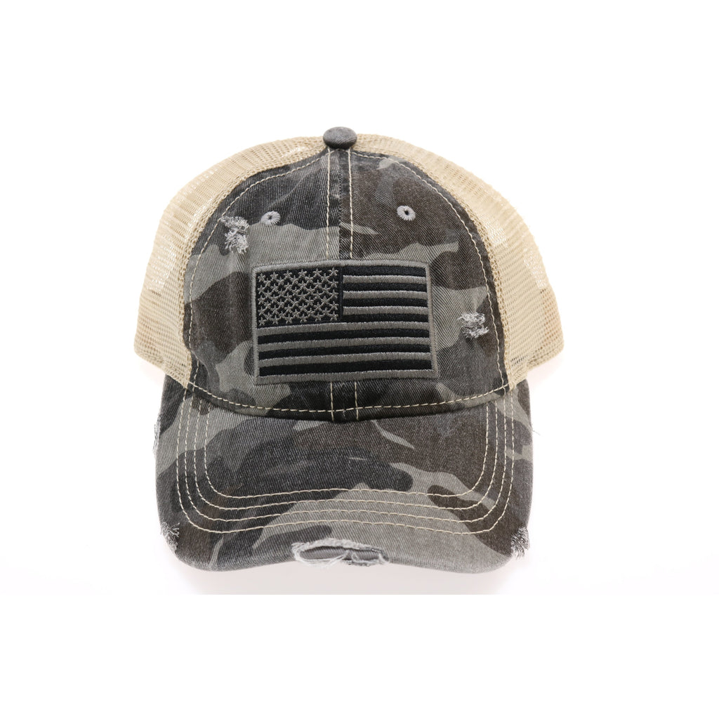 USA Flag Camouflage Mesh Back High Pony CC Ball Cap BT18