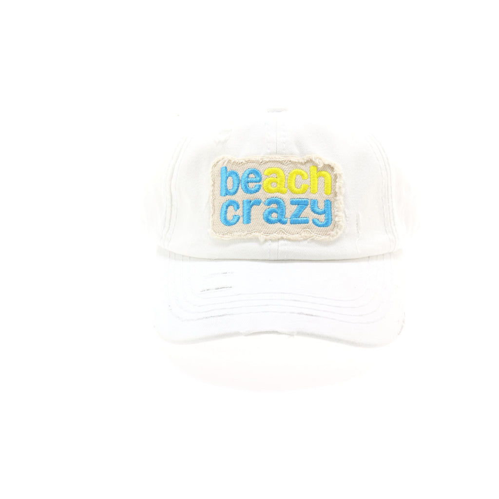 Beach Crazy Embroidered High Ponytail CC Ball Cap BT761