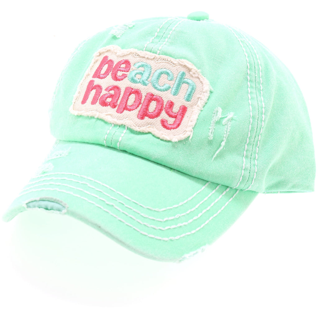 Beach Happy Embroidered High Ponytail CC Ball Cap BT762