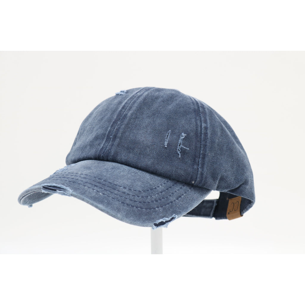 Distressed Ladder High Ponytail CC Ball Cap BT779
