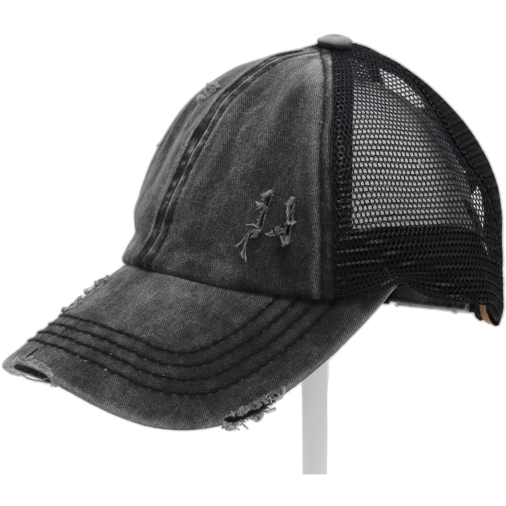 Washed Denim Criss Cross High Pony CC Ball Cap BT780