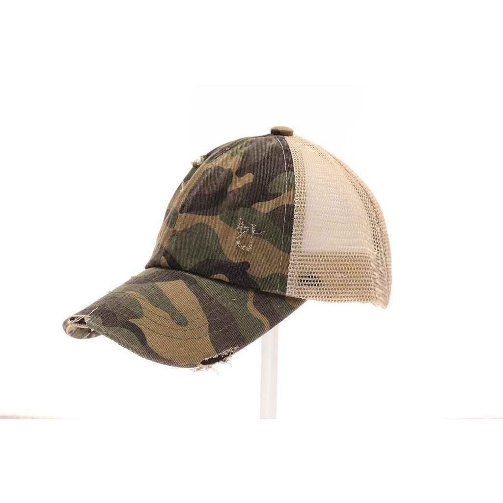 KIDS Distressed Camouflage Criss-Cross High Ponytail CC Ball Cap KIDSBT783