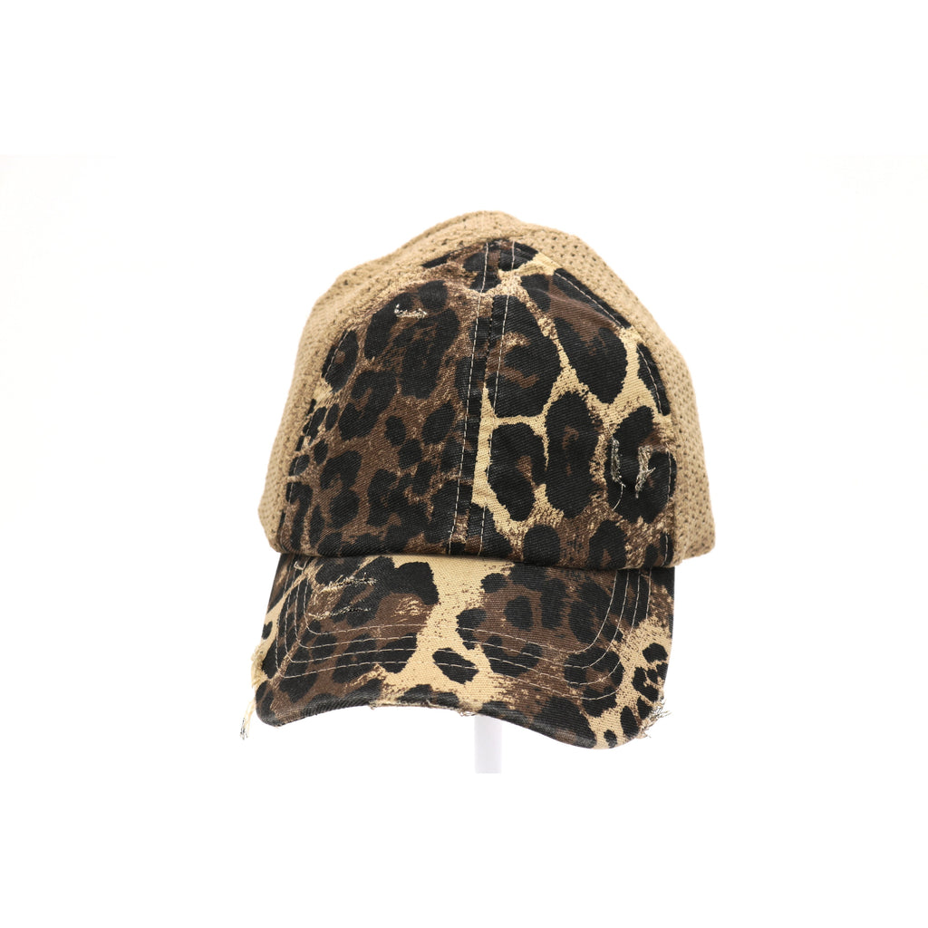 Leopard Distressed Stretch Mesh High Pony CC Ball Cap BT786