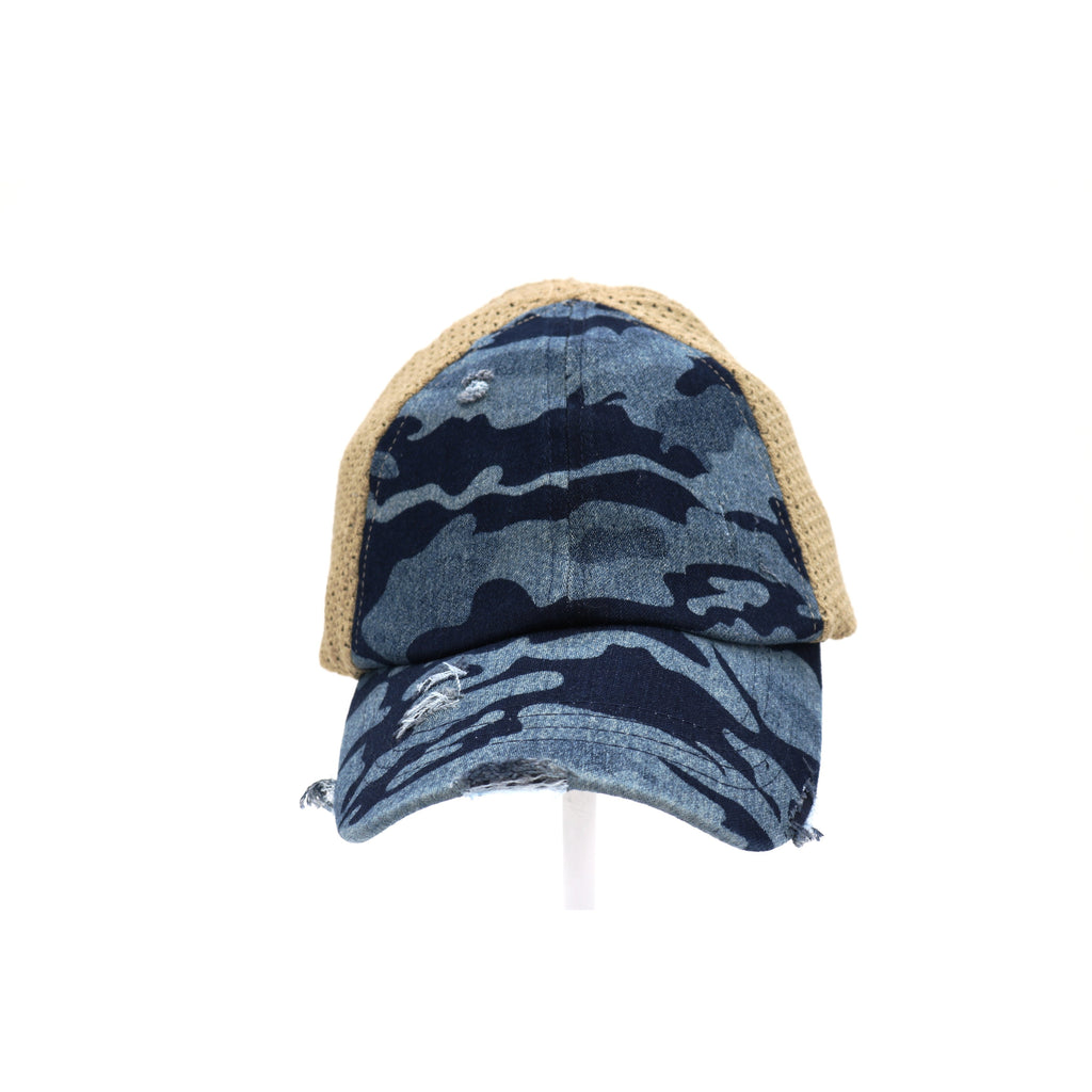 Washed Camouflage Stretch Mesh High Pony CC Ball Cap BT787