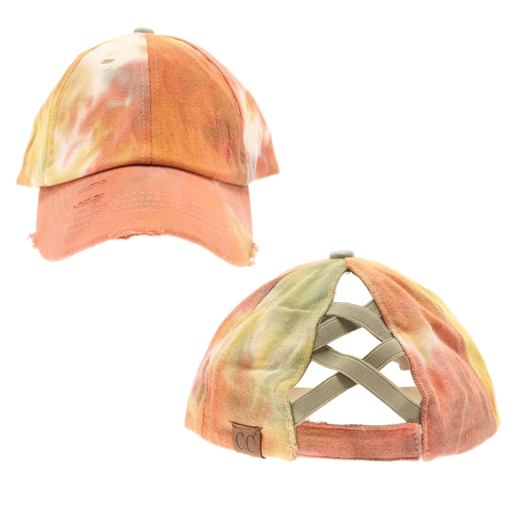 Tie Dye Criss-Cross High Ponytail CC Ball Cap BT791
