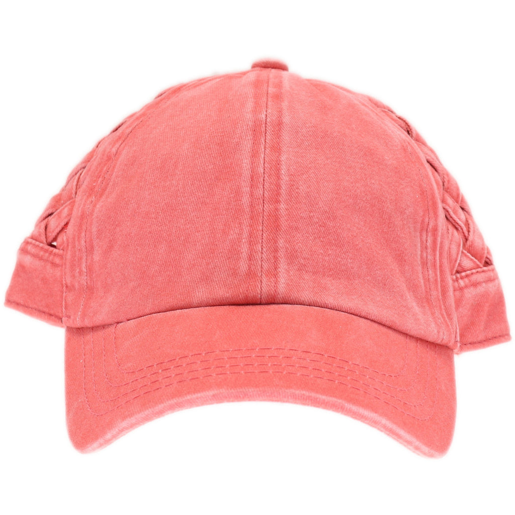 Basket Woven Criss-Cross High Ponytail CC Ball Cap BT922