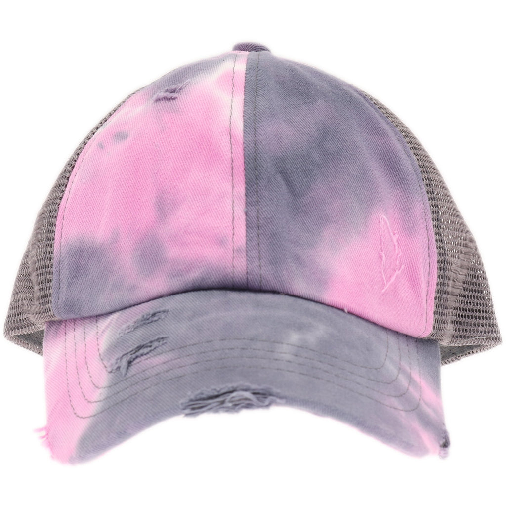 Tie Dye Criss-Cross Mesh High Ponytail CC Ball Cap BT924