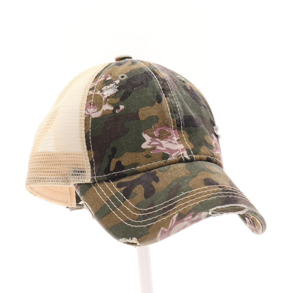 Floral Camouflage Mesh Back High Pony CC Ball Cap BT925