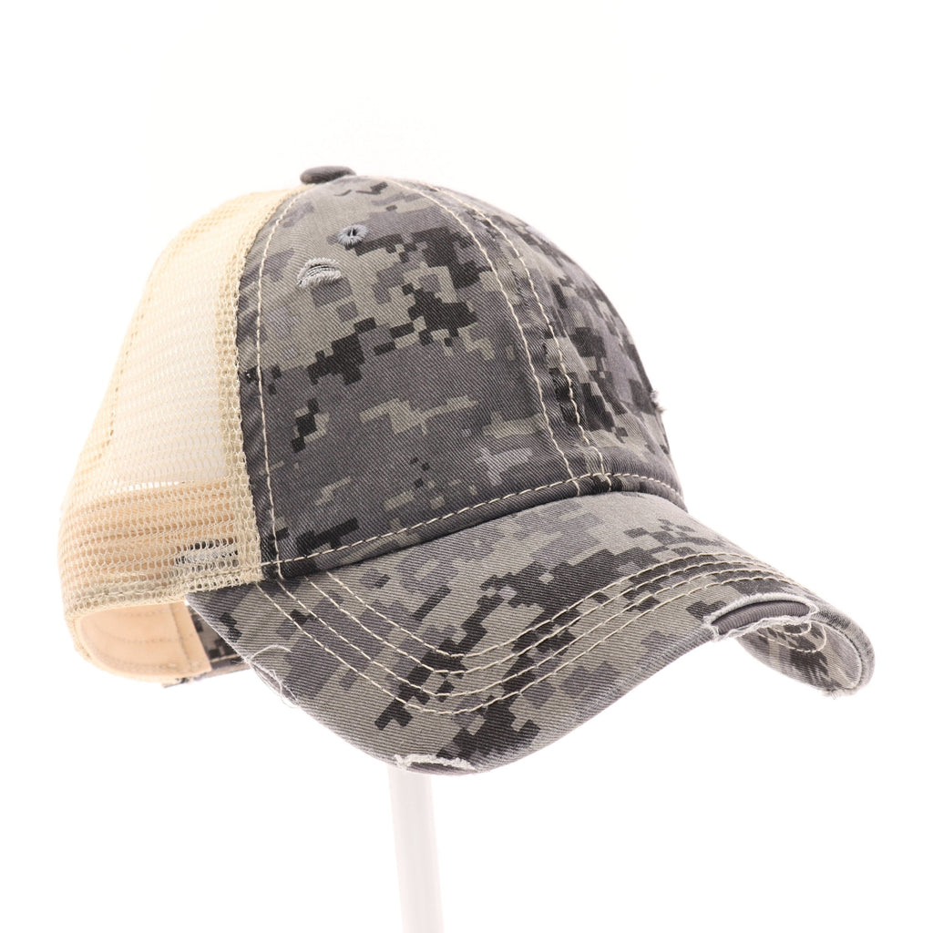 Digital Camouflage Mesh Back High Pony CC Ball Cap BT927