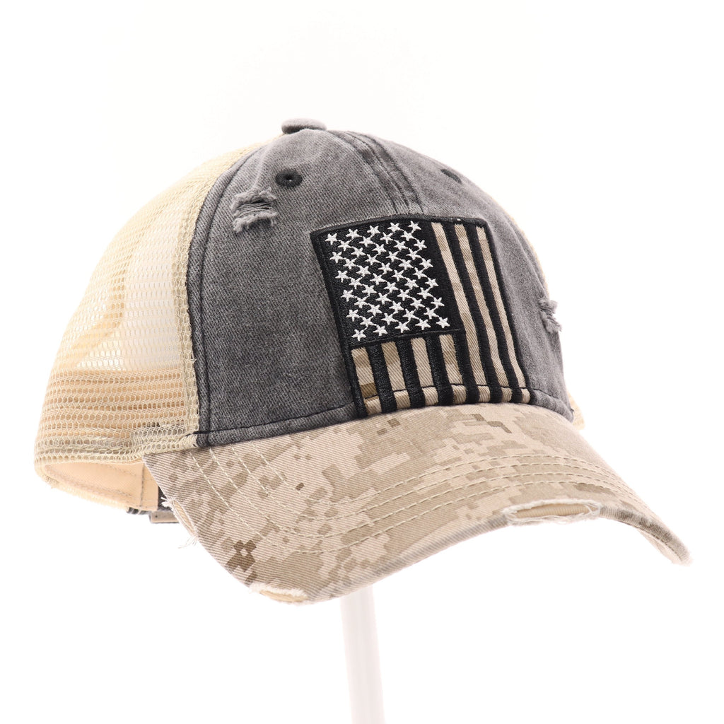 USA Flag Digital Camouflage Mesh Back High Pony CC Ball Cap BT928