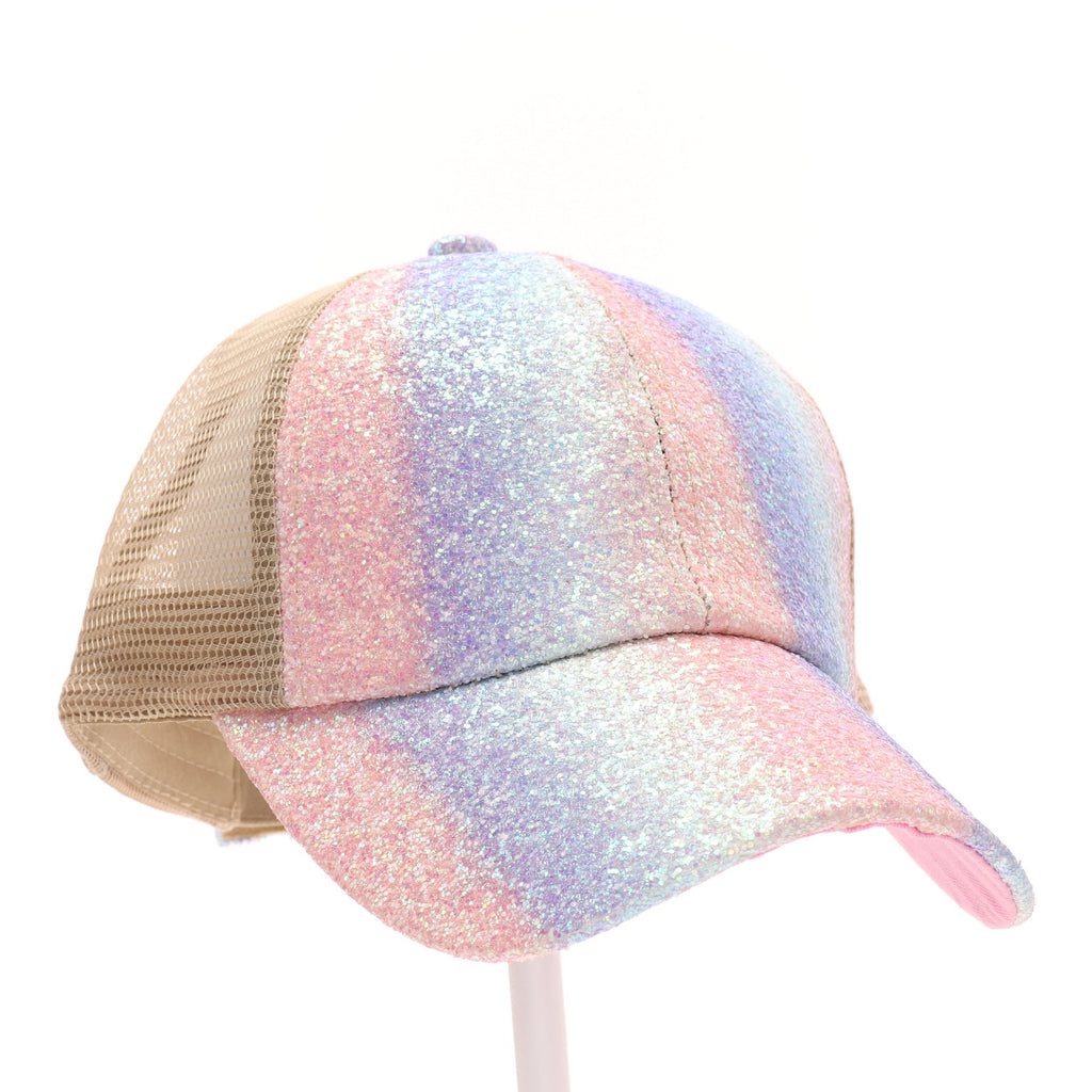 Glitter Ombre Criss-Cross High Ponytail CC Ball Cap BT931
