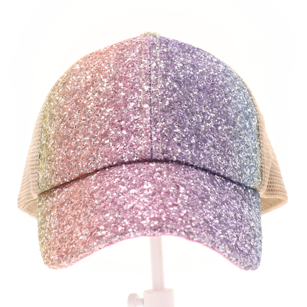 KIDS Glitter Ombre Criss-Cross High Ponytail CC Ball Cap KIDSBT931