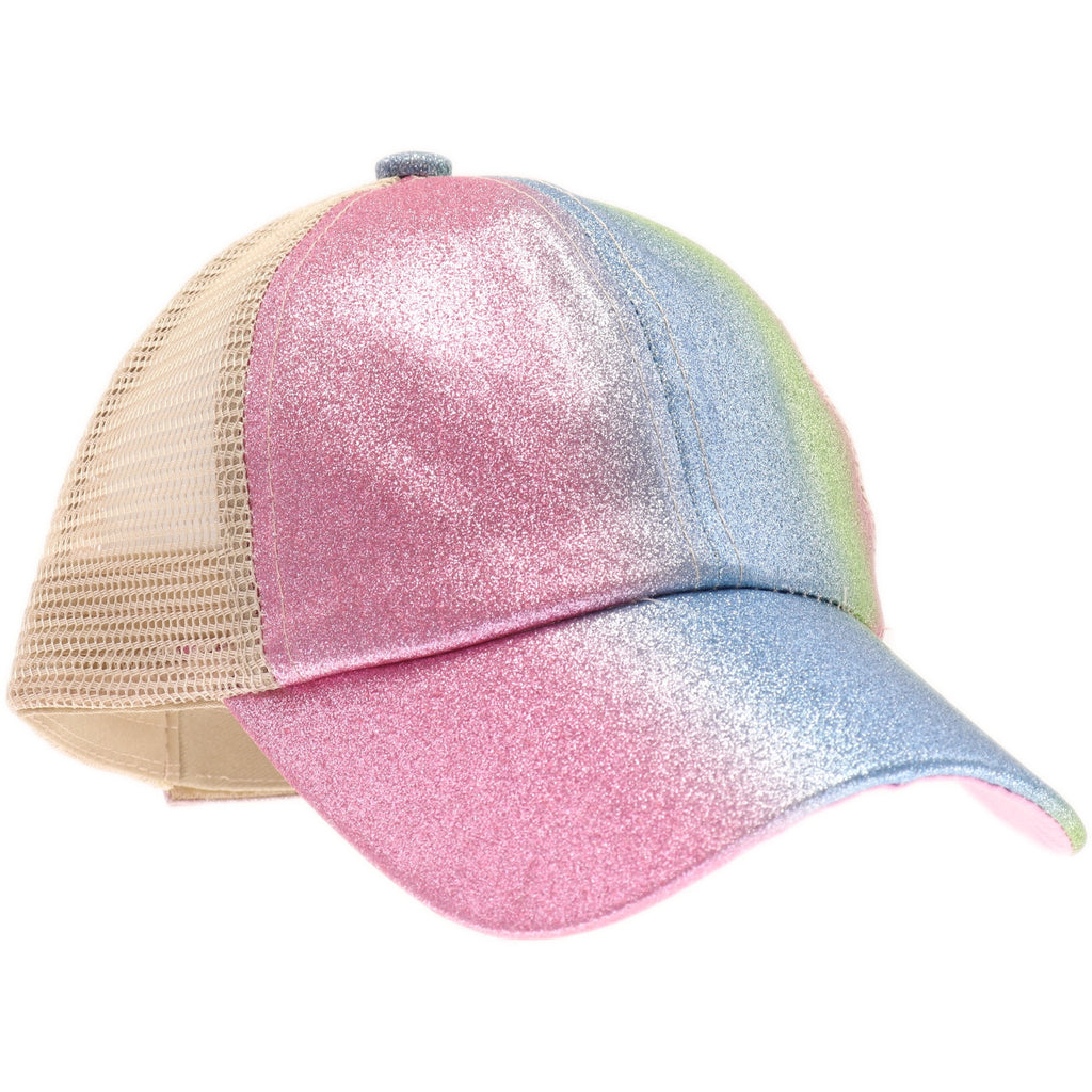 KIDS Shimmer Glitter Ombre Criss-Cross High Ponytail CC Ball Cap KIDSBT932
