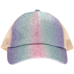 Shimmer Glitter Ombre Criss-Cross High Ponytail CC Ball Cap BT932