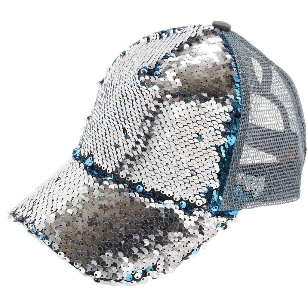 Sequin Mesh Back High Ponytail CC Ball Cap