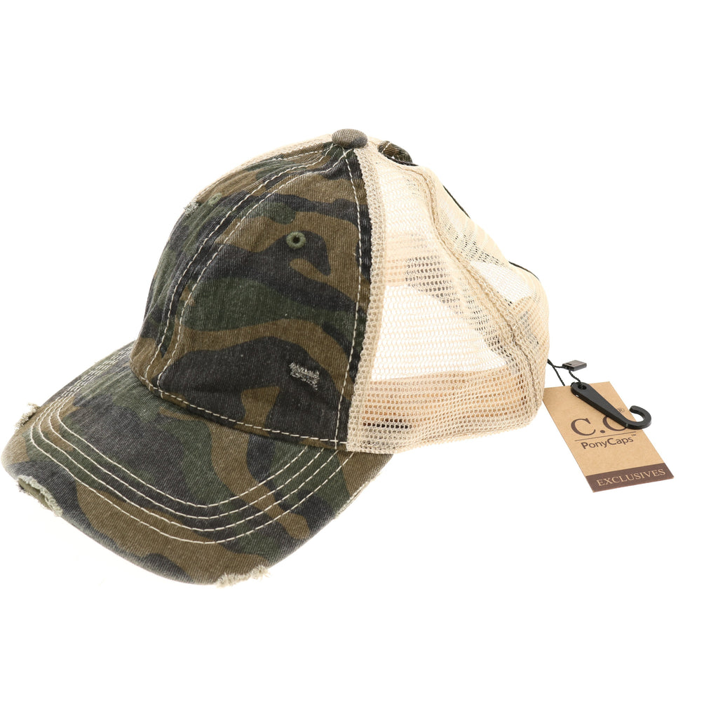 Camouflage Mesh Back High Pony CC Ball Cap BT15