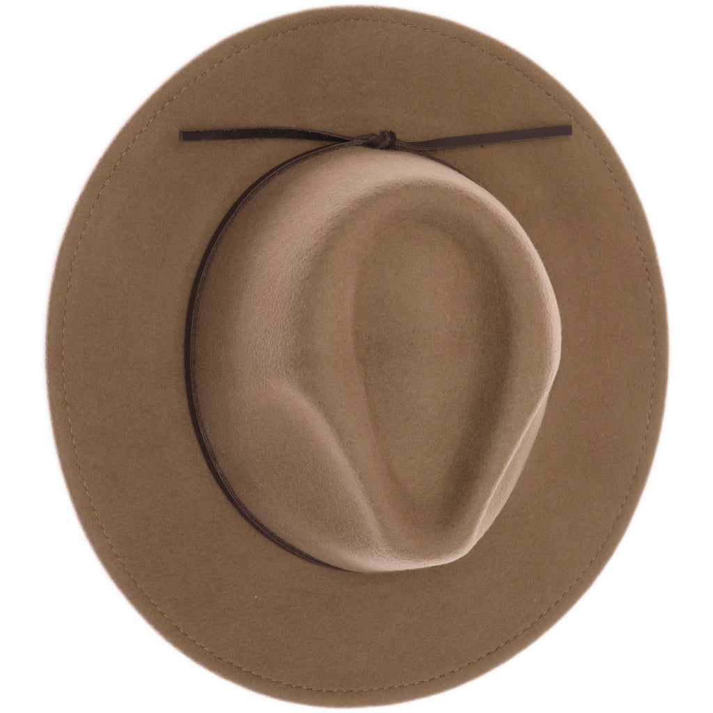 Leather Bow Trim Wool Felt Panama Hat W780