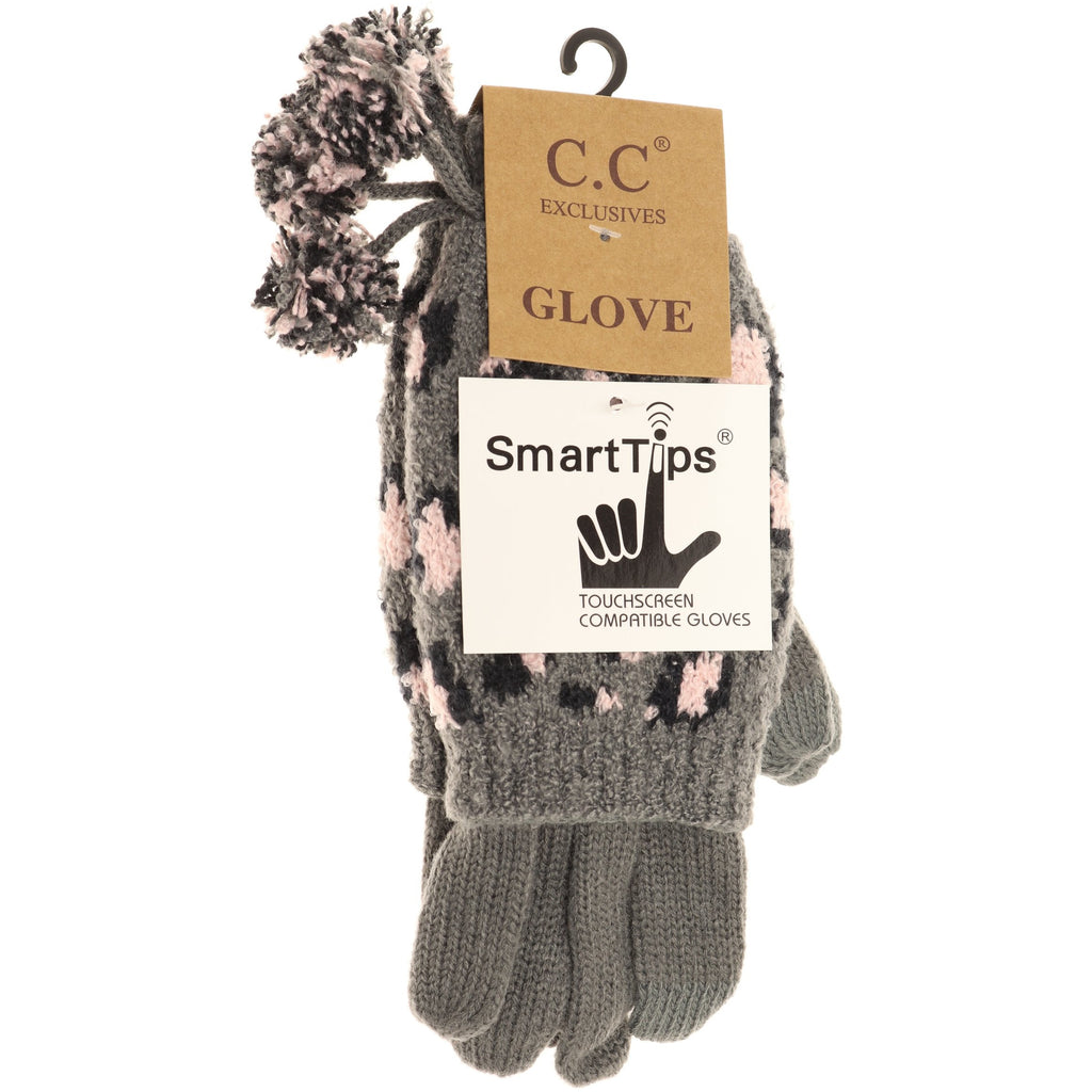 Leopard Print Cuffed CC Gloves with Pom CG7001