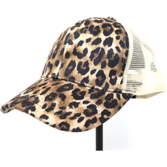 Leopard Print High Ponytail CC Ball Cap