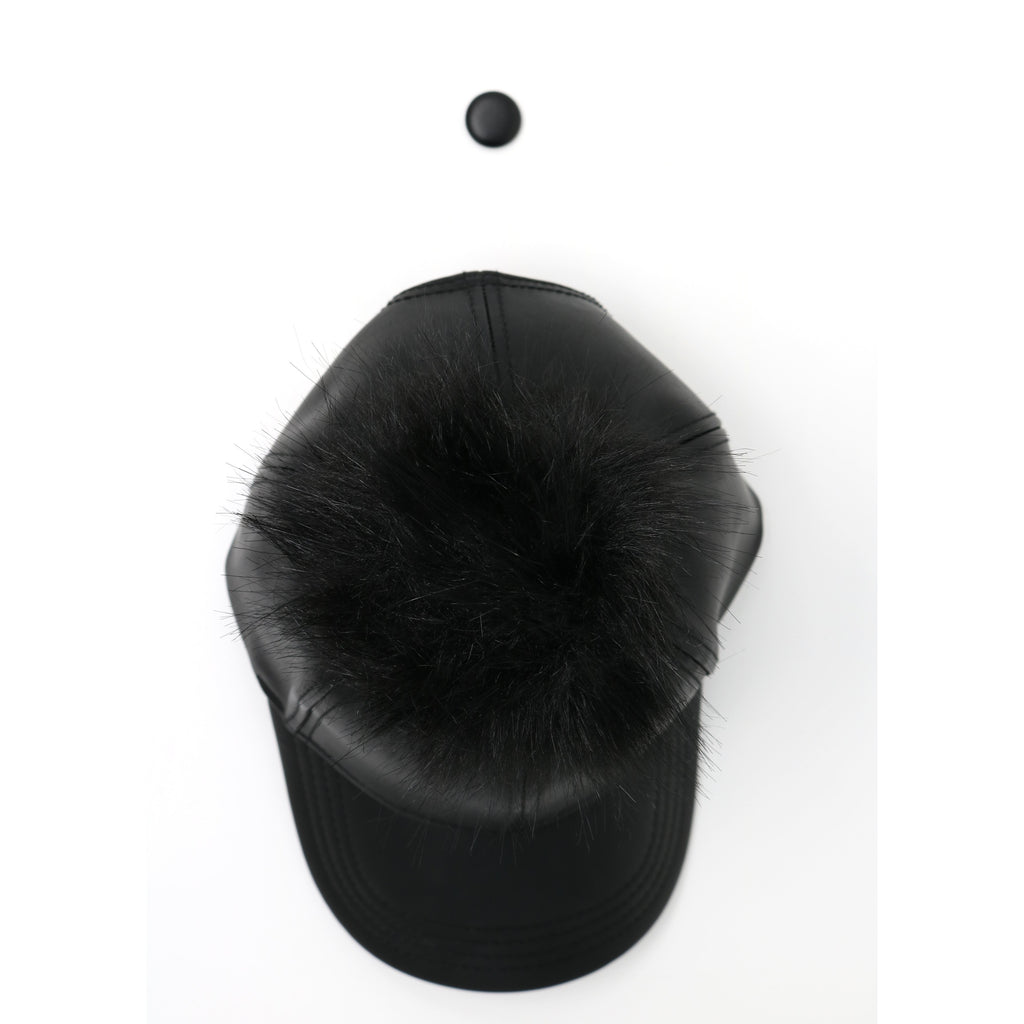 Faux Leather Fur Pom CC Ball Cap