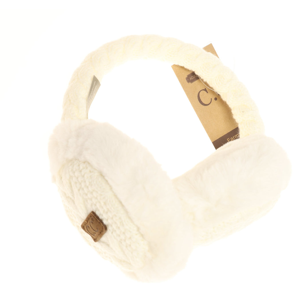 Cable Knit Faux Fur Earmuff EM3661