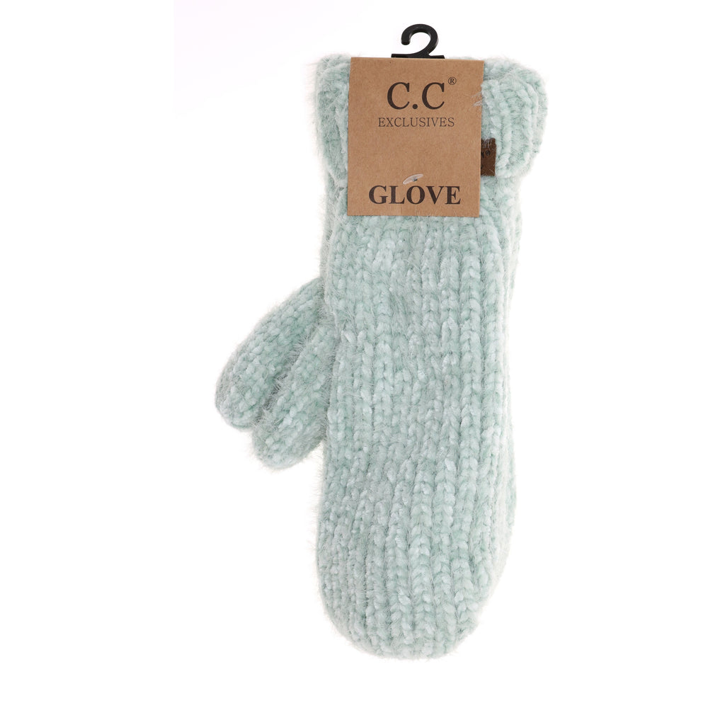 Two Tone Chenille Knit Mitten G1925