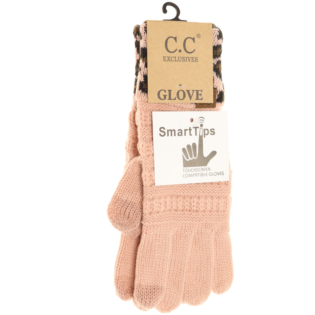 Solid Cable Knit Leopard Cuff CC Gloves G80