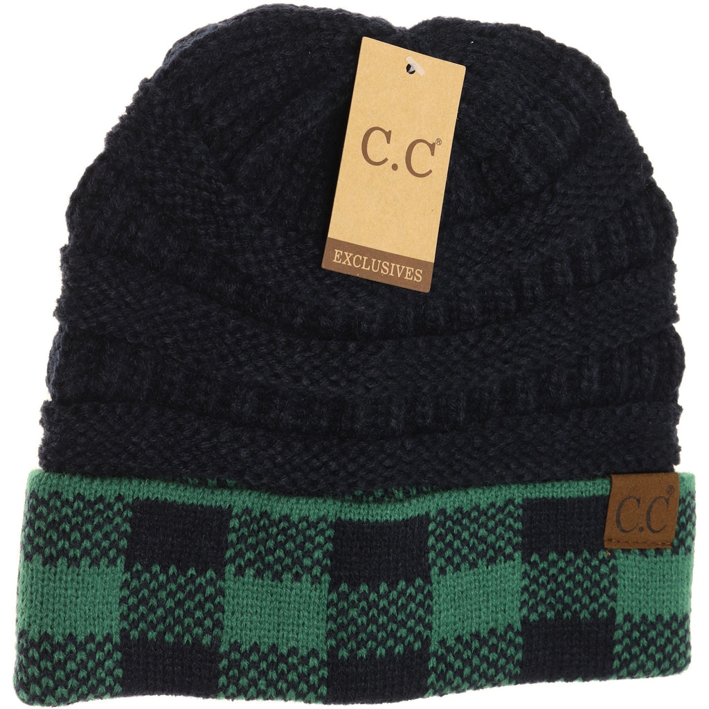 Buffalo Check Knit CC Beanie HAT82