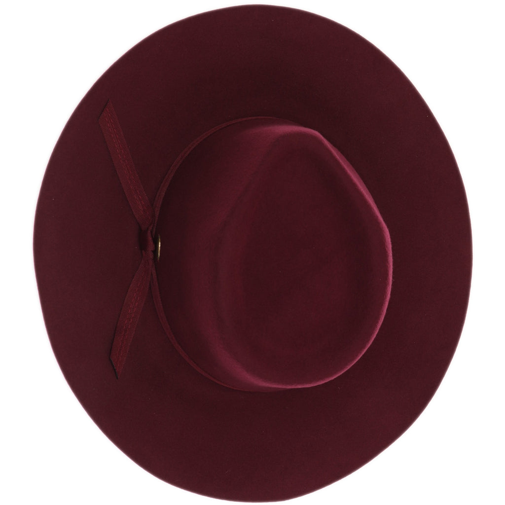 Grosgrain Bow Trim Wool Felt Panama Hat W1041