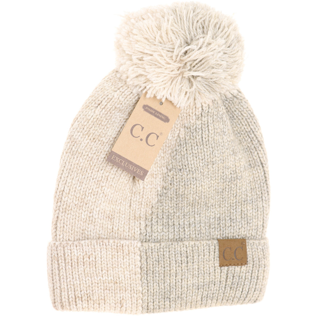 Two Tone Knit CC Beanie HAT2213
