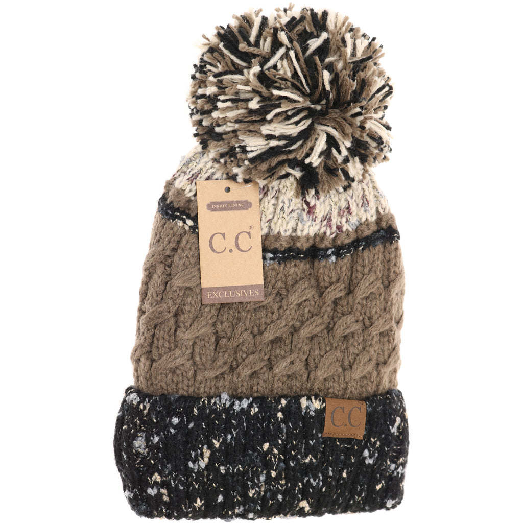 Lined Tri-Color Flecked Pom CC Beanie HAT2341