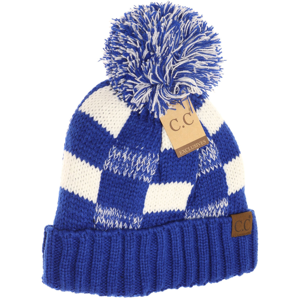 Fuzzy Lined NEW Buffalo Check Print CC Pom Beanie HAT58