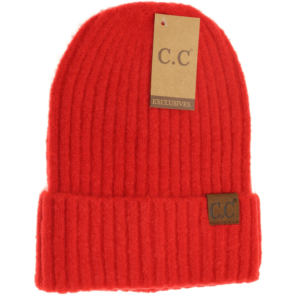 Unisex Solid Ribbed CC Beanie HAT6246