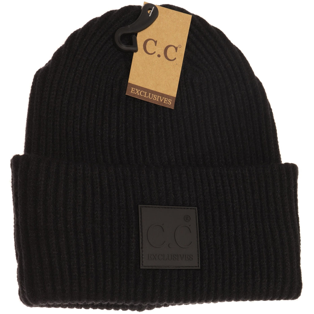 Solid Ribbed CC Beanie with Rubber Patch HAT7007