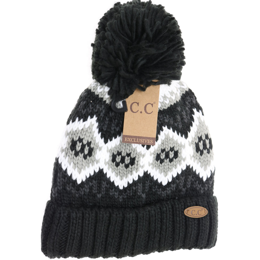 Honeycomb Pattern CC Beanie with Pom HAT7010
