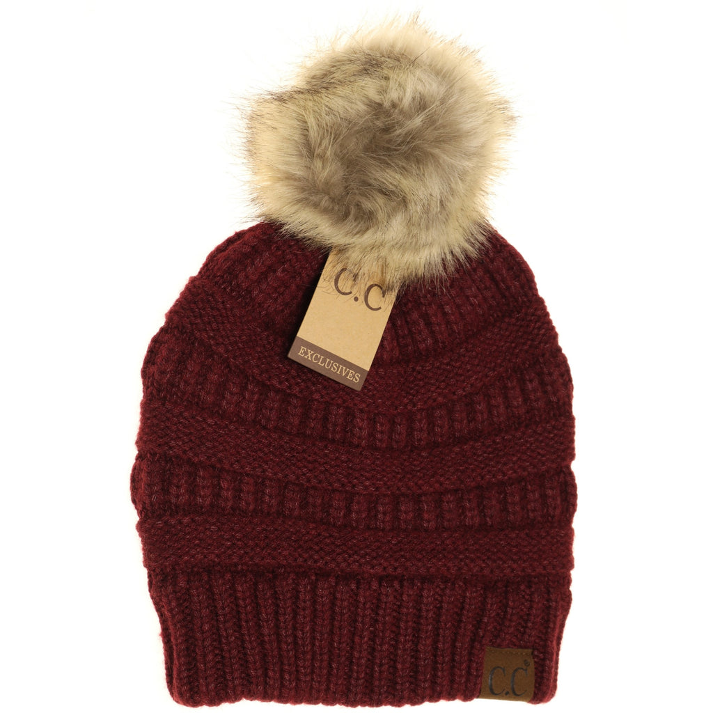 Mixed Soft Yarn Natural Pom Beanie HAT890POM
