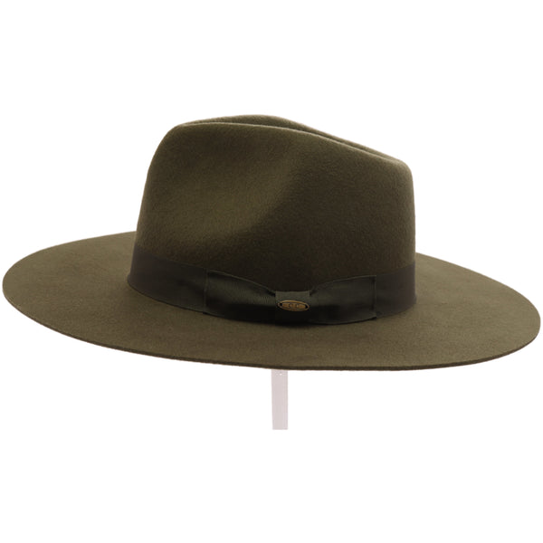 Wool Felt Panama Hat With Grosgrain Trim by CC Exclusives Taupe