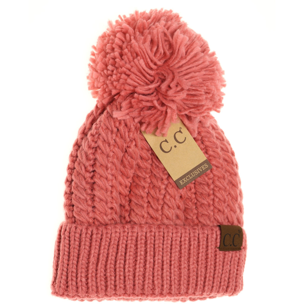Twisted Mock Cable Knit Pom Beanie HAT2054