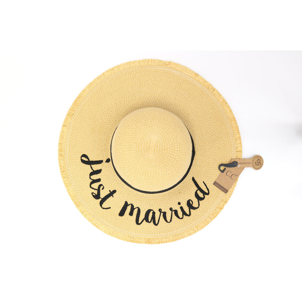 Embroidered Distressed Floppy Sun Hat 2025
