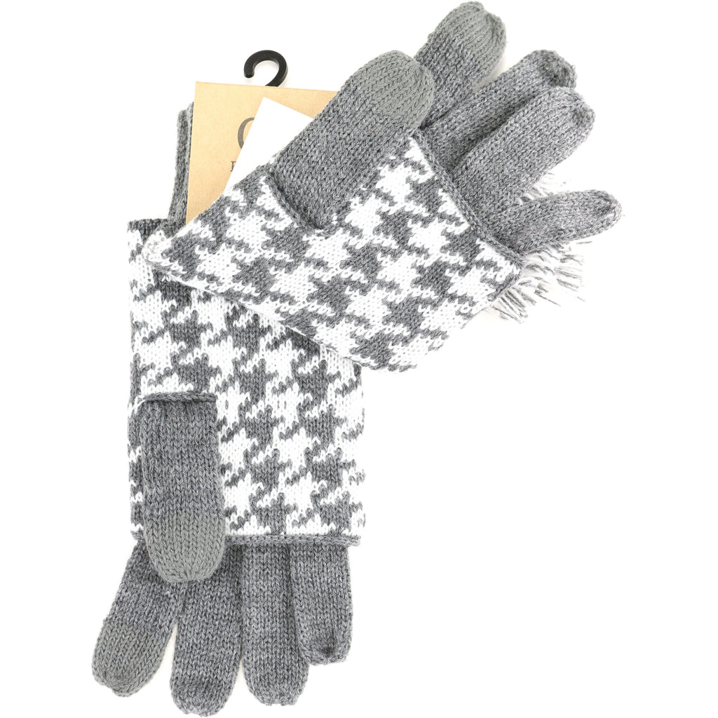 Houndstooth Cuffed CC Gloves