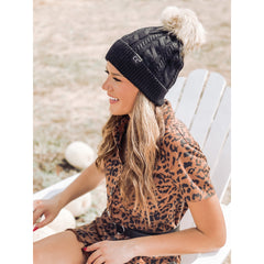 CC Exclusive - Black Label Special Edition Ribbed Cuff Fur Pom Beanie HAT1915