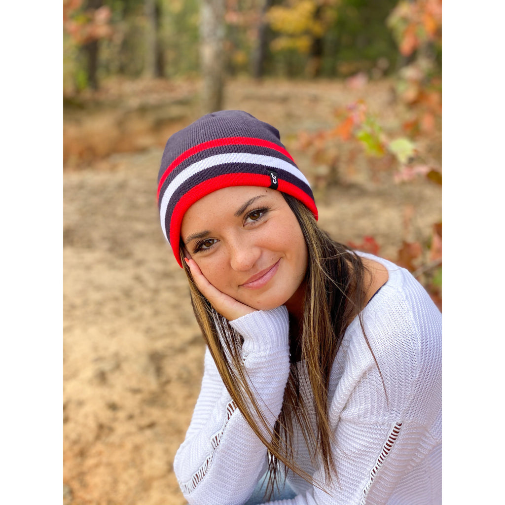 Unisex Solid Striped Reversible CC Beanie HTM6