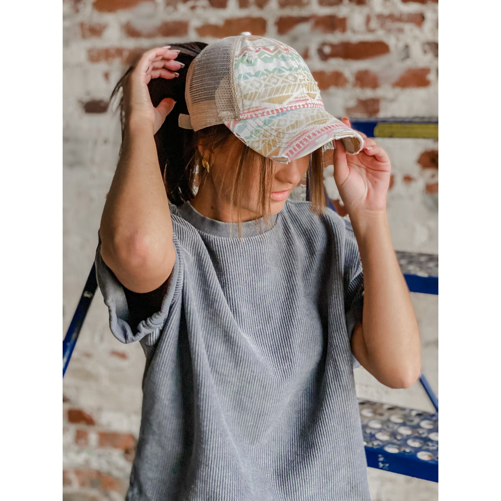 Aztec Mesh Back High Pony CC Ball Cap BT929