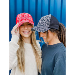 Paisley Criss-Cross High Pony Ball Cap BT792