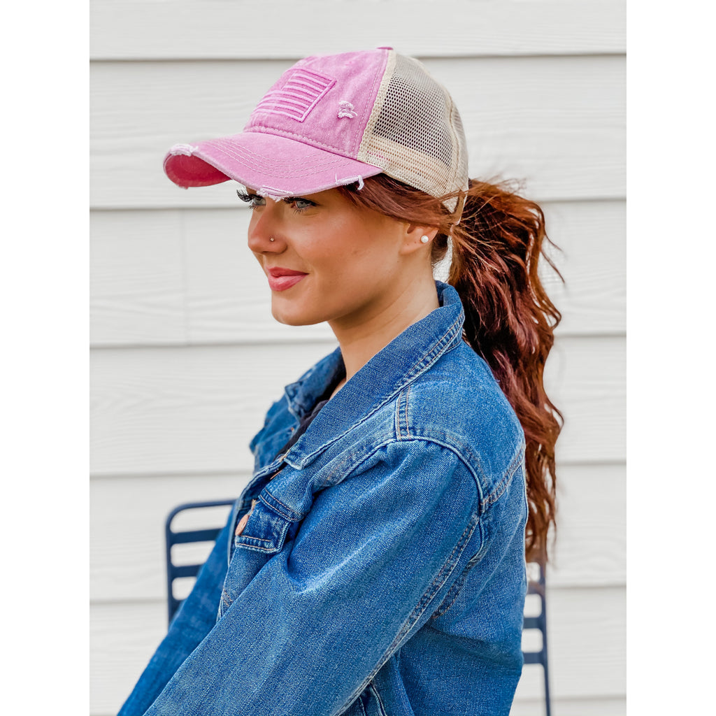 Monochrome USA Embroidered High Pony CC Ball Cap BT926