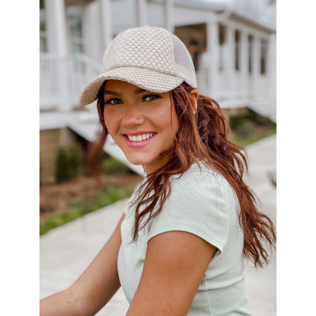 Glittered Net Criss-Cross High Ponytail CC Ball Cap BT934