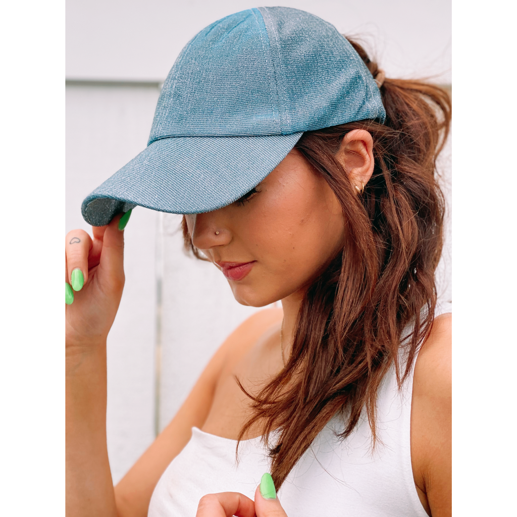 Metallic Stretchy High Pony Tail CC Ball Cap BT790