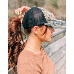 C.C MOSSY OAK Mini Break-Up Camouflage Criss Cross High Pony Ball Cap BT935