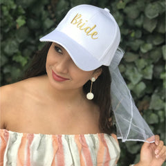 Bride/Just Married Embroidered CC Ball Cap with Lace Veil